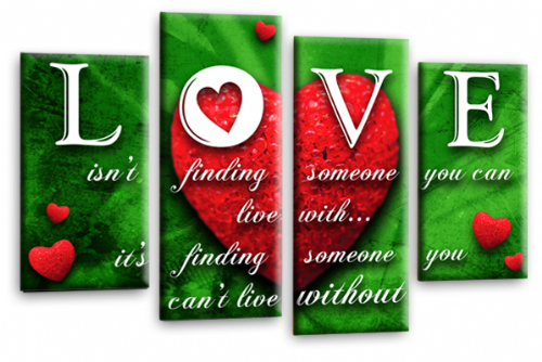 Love Heart Quote Canvas Wall Art Picture Red Green White Print